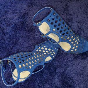 Chelsea & Zoe blue heeled sandal